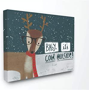 Stupell Industries Baby Its Cold Outdoor Deer 冬季假日插图 多色 24 x 30 hwp-401_cn_24x30