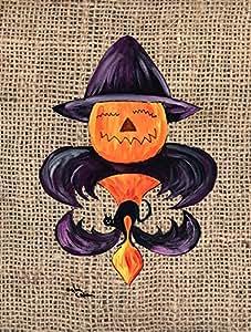 Halloween Pumpkin Bat Fleur de lis Flag 多色 小号