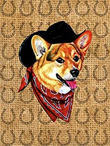 Corgi Dog Country Lucky Horseshoe Flag 多色 小号