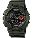 Casio 卡西歐 中性手表 軍綠顏色樹脂,帶液晶顯示屏和自動LED燈-防震和防水,Black/Green,Uni