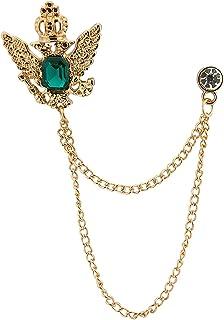 AN KINGPiiN 金色皇冠石带悬挂流苏翻领别针,胸针西装铆钉,衬衫铆钉男士配饰
