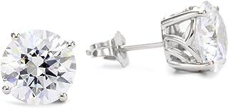 Myia Passiello Myia Passiello 必备银色圆形切割方晶锆石 7.274 克拉耳钉