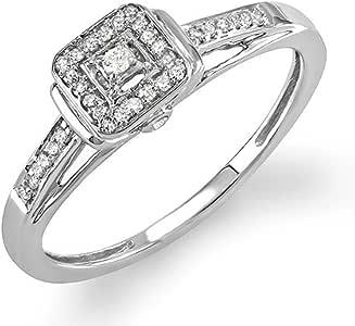0.15 Carat (ctw) 925 Sterling Silver Round Diamond Ladies Engagement Bridal Ring (Size 7.5)