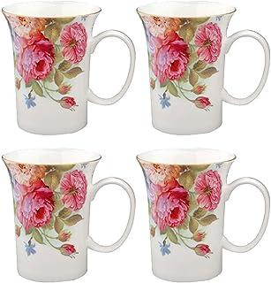 Gracie Bone China 283.5 克小号杯,粉色沙拉玫瑰,4 件套