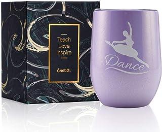 教师感恩节*佳独特的教师礼物创意,340.19 克酒杯/带盖杯,卡和礼品盒,适合女士/男士毕业、圣诞节、退休典、学生感谢礼 紫色 Teach-tum dance US