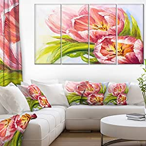 "Design Art PT6174-271 4 Piece ""Tulips Flowers Floral"" Canvas Art Print, Pink, 48x28"""