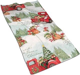antoipyns 圣诞红卡车多厨房毛巾 ¡§C 17.5x27.5 英寸超细纤维毛巾擦碟 用于擦干餐具和印迹溢出 ¡§ Cdish 毛巾