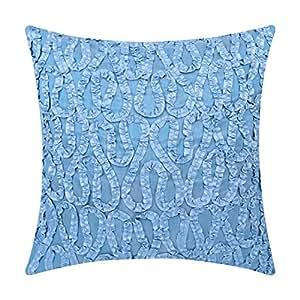 """白色花瓣丝带工作枕套 1 件装 浅蓝色 18""""x18""""-1 Cover New Blue Ribbon 18 Set 1 MPN"""