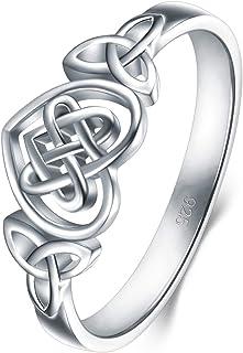 BORUO 925 纯银戒指凯尔特结心高抛光*永恒婚戒可叠加戒指