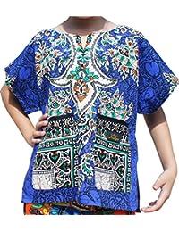 Raan Pah Muang Bright Kaftan Boubou Africa 短袖儿童中性衬衫