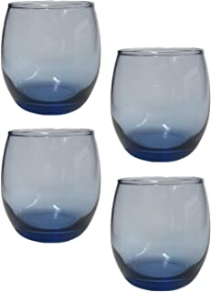 Space Blue Stemless 红酒 Chardonnay 11.5 盎司,4 件套- 低球、岩石、鸡尾酒会、威士忌老时尚眼镜