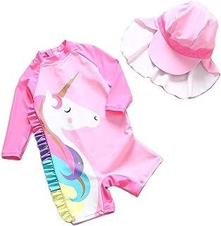 女婴独角兽日光浴装连体泳衣*泳衣 UPF 50+ *长袖