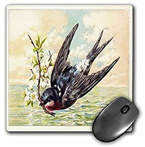 3D 玫瑰哑光鼠标垫 - 8 x 8 Swallow With Flower Branch Swims Over Ocean In This Vintage Scene 8 x 8""