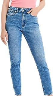 American Eagle 女式 2173910 弹力牛仔裤妈妈牛仔裤褪色靛蓝色