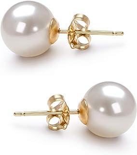 淡水养殖珍珠耳钉 AAA 6-10mm 白色养殖珍珠耳环 纯银