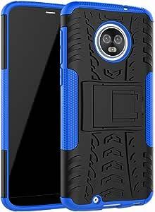 Moto G6 手机壳,UZER 防震混合纤薄双层坚固橡胶混合硬/软抗冲击装甲防护手机壳带支架,适用于摩托罗拉 Moto G6 5.7 英寸 2018 型号 蓝色