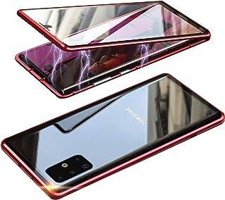 HONTECH Galaxy A71 5G 磁性外壳,超薄磁吸附前后钢化玻璃内置屏幕保护膜金属保险杠翻盖外壳 6.7 英寸 红色
