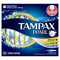 tampax PEARL 塑料卫生巾三种类套装 护垫/日用/夜用 无香型 204 Count 204