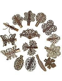 Jaciya 15 个装复古发夹发夹蝴蝶叶花朵羽毛形发夹