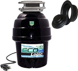 Eco Logic EL-10-DS-BK 10 设计师系列食品废弃物处理器,带黑色槽口,1-1/4 HP Black Sink 法兰 3/4 Horsepower EL-9-DS-BK