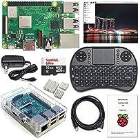 Raspberry Pi 3 B+ 套裝 - WiFi,藍牙,Raspbian,無線鍵盤,16GB 高速 SD,3A 電源,透明外殼