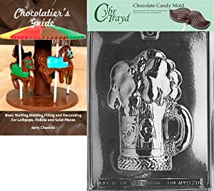 Cybrtrayd Bk-D028 5-Cent Beer Mug Dads and Moms Chocolate Candy Mold with Chocolatier's Guide Instructions Book Manual