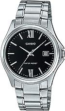 Casio MTP1404D-1A2 男式礼服不锈钢黑色表盘 3 指针模拟日期手表