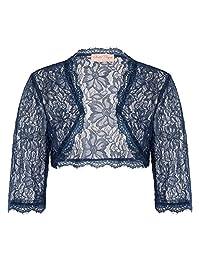 JS 时尚复古连衣裙 Belle poque 女式长袖花卉蕾丝耸肩 BOLERO 开衫 js49