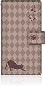 NYAGO x CaseMarket 【手册式】 SH-06E AQUOS PHONE ZETA 皮革 细长 壳 针脚样式 [NYAGO 笔记本 法式织物 花 日记本式 猫 轮廓 菱形花纹 & 长方形竖笛?!] 皮革手册 2016 NEW 缝合 & 穿带孔SH-06E-VCM2S2457 巧克力