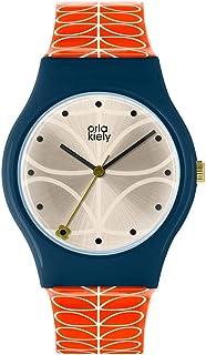 Orla Kiely 欧拉·凯利 中性成人模拟经典石英手表皮革表带 OK2228,香槟色