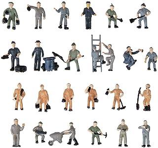 Acxico 25 件模拟火车轨道工人模型人偶带工具1:87 HO 比例适合微型场景