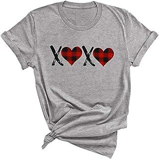 MK Shop 限量女士水牛格子心情人节衬衫趣味 XOXO 图案短袖 T 恤上衣