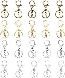 MIUSIE D 戒指套装-140 件组合金属银 D 型环,背包挂钩,腰带,手包 DIY lobster claw clasp,key ring with key chain M0186