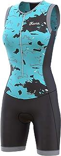 KONA Assault 女式铁人三项比赛服 - 快装紧身衣 紧身裤 Trisuit 无袖 - 一件式背心和短款组合,体型透气
