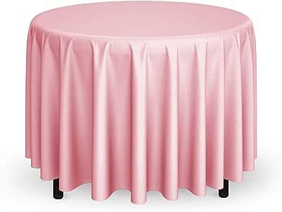 铣削和螺纹 - 274.32 厘米圆形优质桌布 适合婚礼/宴会/餐厅 - 涤纶面料桌布 粉红色 TBL-LT108R-PINK_01