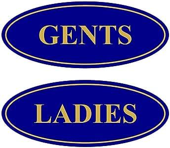 "All Quality Oval 女式男式餐厅标志 - 2 件装 Blue/Gold 2-3/4"" x 7"" - Medium AQS-OVL-LDYGNT-MBLUG"