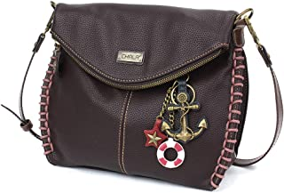 Chala Charming 斜挎包带拉链盖顶盖和金属链 - 浅棕色