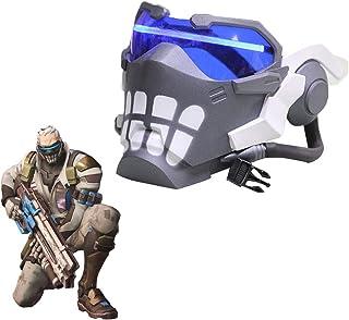 OW 战士76 发光面具 - 1:1 道具复制*灯头盔万圣节可调武器角色扮演道具