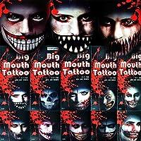Shatchi 4 各种各样大嘴部临时纹身万圣节服装僵尸恐怖幽默花式服装戏剧化妆派对包填料 趣味 多色