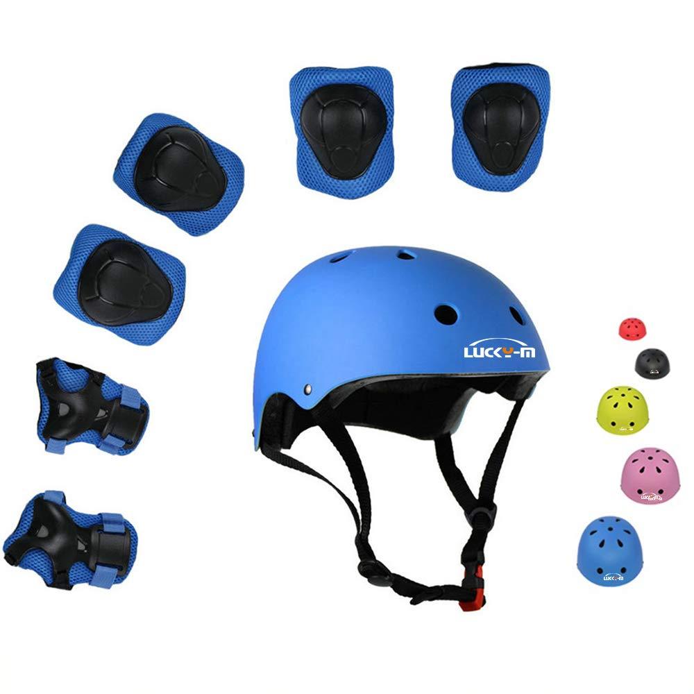 ラッキー-Mの子どもたち7人のアウトドアスポーツ防護服のスーツの男の子と女の子の自転車用ヘルメットのパッド*セット[膝や肘、手首]ホイールスクーター(3-8歳)自転車