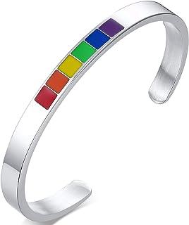 Nanafast 6 毫米彩虹 LGBT 骄傲手镯适用于女同性恋和同性恋不锈钢珐琅 LGBTQ 袖口手镯珠宝