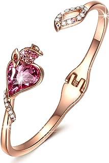 QIANSE 玫瑰人情侣袖口手镯手链采用施华洛世奇水晶制成,不含镍女士首饰 [礼品包装] - 爱礼物!