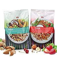 (瑞典进口包邮)ICA 爱西爱 50%水果坚果麦片750g + 草莓酸奶什锦粗粮营养麦片500g