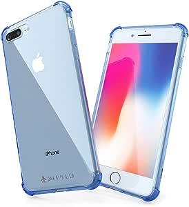 iPhone 7 Plus 手机壳,iPhone 8 Plus 手机壳,5.5 英寸,防震,防震,防震,透明,TPU,iPhone 8+/7+ Otter Box 减震 - 由一吻和 CO 设计(蓝色) 16x8 cm 蓝色