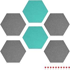 Navaris 毛毡备忘板 - 4X 件装饰性六角形图标板,带推销和胶带 7.9 x 6.7 x 0.6 英寸(20 x 17 厘米) - 深灰色 6X Gray & Turquoise