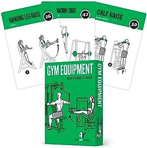 健身器材练习卡,62 件套:力量和有氧运动指导训练:带50个锻炼的插图健身卡,男女适用:大号,耐用,防水
