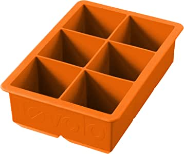 Tovolo Sturdy Silicone, Long-Lasting, Fade-Resistant, King Cube Ice Tray, Orange Peel
