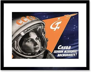 PROPAGANDA 女款 COSMONAUT USSR TERESHKOVA 黑色框架艺术印画 B12X4650 黑色 12x16 Inches B12X4650_BLACK