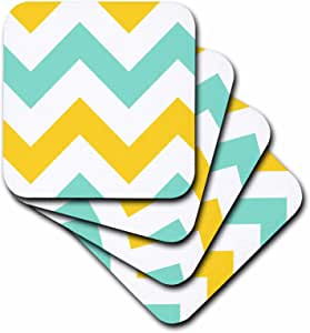 3dRose cst_179797_3 Big Yellow and Teal Chevron Zig Zag Pattern Turquoise Zigzag Stripes Ceramic Tile Coasters, Set of 4