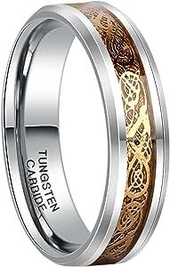 FRANK S. Burton 6mm 8mm 凯尔特钨戒指,男式女式龙设计碳化钨婚戒套装/价格 separated